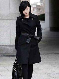 Vintage Black Polyester Women's Long Coat - Women's Coats ...