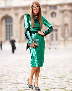 Anna Dello Russo. Wearing a Green Sequined Dolce and Gabbana dress.