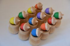 Ready to Ship Rainbow Acorns Memory Matching Color Matching Sorting Montessori Wooden Toy (30.00 USD) by howwelearnathome