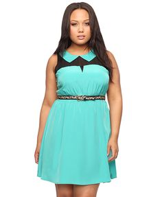 bright mint colorblocked dress with peter pan collar and leopard skinny belt.