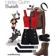 Designer Clothes, Shoes & Bags for Women Harley Quinn Comic, Harley Quinn Cosplay, Casual Cosplay, Cosplay Outfits, Harley Quinns Daughter, Outfits For Teens, Cute Outfits, Movie Outfits, Harley Costume
