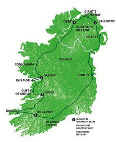 Itinéraire du All Ireland Rocker de Shamrocker Tours