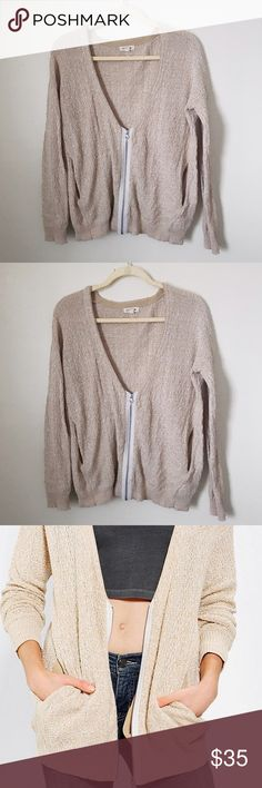 Silence + Noise Zip Up Cardigan Cream/oatmeal colored zip up sweater. Has pockets on the sides. Good condition. Urban Outfitters Sweaters Cardigans