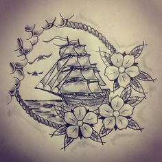 Ship / roses tattoo sketch by - Ranz