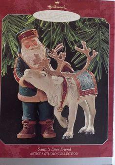 1998 Santas Deer Friend Hallmark Keepsake Christmas Ornament for sale online Hallmark Christmas Ornaments, Hallmark Keepsake Ornaments, Santa Ornaments, Christmas Presents, Deer, Moose Art, Friends, Artist, Animals
