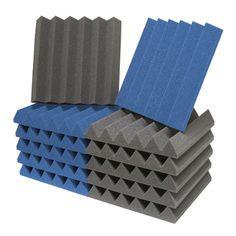 ATS Wedge Foam Acoustic Panels (Charcoal/Blue) - 12x12x2 (12PK)