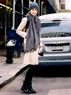 Beat the cold in a cozy scarf, beanie and chunky boots