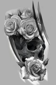 Эскиз череп розы. Автор Юра Горобец https://www.instagram.com/p/BgO1xWEHn7V/