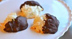 Chocolate dipped macaroons. Recipe here:  http://www.kraftbrands.com/bakerschocolate/recipes/recipe-detail.aspx?recipeId=52586&recipeName=BAKER%27S%C2%AE%20ONE%20BOWL%20Coconut%20Macaroons just swap out flour.