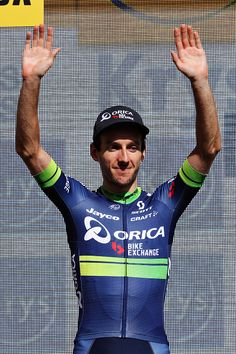 Adam Yates of Great Britain riding for OricaBikeExchange wearing the white young riders jersey on the podium after stage twelve of the 2016 Le Tour...