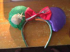 Custom Little Mermaid Mickey Mouse Ears by BlackHeartBows on Etsy