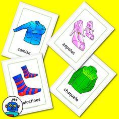 Free Spanish Flash Cards - Clothing. chaqueta - jacket camisa - shirt zapatos - shoes calcetines - socks