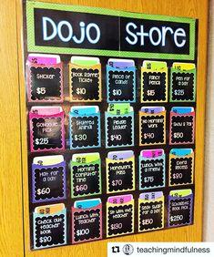 I love this Dojo Store setup is using in her class! Class Dojo Rewards, Classroom Rewards, Classroom Behavior Management, Classroom Organisation, Class Management, 2nd Grade Classroom, Classroom Community, Future Classroom, School Classroom