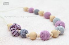 Teething necklace -Certified Organic Nursing Breastfeeding necklace - lavender lilac grey, mom accessory. $26.00, via Etsy.