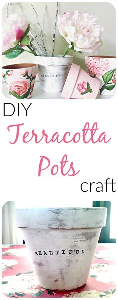 Terra cotta pot crafts, how to paint peonies, hydrangeas, and roses. How to stamp and stencil terracotta pots.