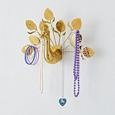 Peacock Jewelry Hanger features a gold-finish and a gorgeous plume of feathers that are ready to hang necklaces, bracelets and more. Jewelry Organizer Wall, Jewelry Hanger, Jewellery Storage, Jewellery Display, Jewelry Organization, Jewelry Box, Necklace Storage, Jewelry Stand, Cheap Jewelry
