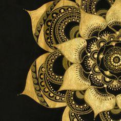 Black and Gold Mandala canvas handpainted by Sophia Antoniello