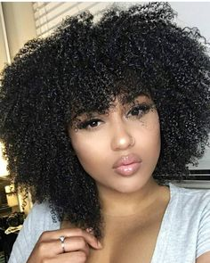 60 Best Natural Hair Bangs Images Curly Hair Styles
