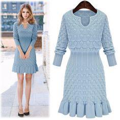 Nova moda inverno/primavera bonito Vestidos Plus size vestido de camisola Chic Túnica hiver azul de malha Vestidos Vestidos Femininos Por ...