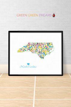 North Carolina Map Print Poster Wall art North Carolina US State Maps NC printable download Home Decor Digital gift GreenGreenDreams