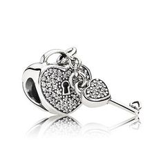 This romantic, heart-shaped padlock, crafted from sterling silver, studded with pavé-set cubic zirconia, is a glittering, timeless symbol of love and devotion. A cute charm to represent your wedding day. #PANDORA #PANDORAcharm