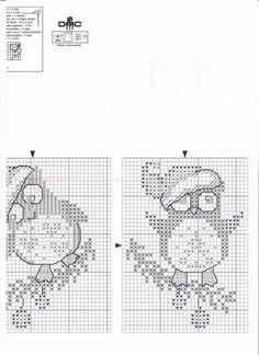 Christmas owls- part 3 of 3 Cross Stitch Owl, Cross Stitch Cards, Cross Stitching, Cross Stitch Embroidery, Crochet Border Patterns, Cross Stitch Patterns, Cross Stitch Christmas Cards, Christmas Cross, Theme Noel
