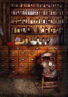 Apothecary - Just the usual selection Acrylic Print by Mike Savad. All acrylic prints are professionally printed, packaged, and shipped within 3 - 4 business days and delivered ready-to-hang on your wall. Apothecary Decor, Apothecary Cabinet, Apothecary Bottles, Jars Decor, Antique Furniture, Wooden Furniture, Kitchen Furniture, Outdoor Furniture, Herbalism