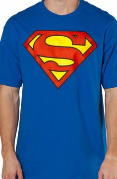 This Classic Superman shirt will turn it's wearer into the Man of Steel. The Superman shield is screen printed across the chest. The approximate measurement of the shield is 13 inches wide by 9.5 inch