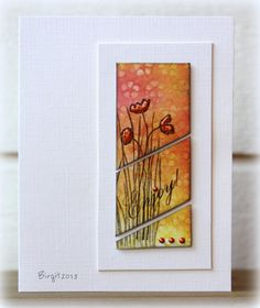 Love the way this panel is cut and the CAS style of white on white. Card by Birgit Edblom (Biggan at SCS).