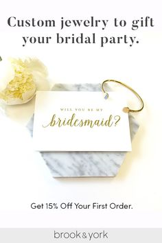 Save 15% off your order with code PNST15 and make your bridal party feel extra special with stunning, personalized bridal jewelry gifts from brook & york. Choose from a whole collection of American-inspired pieces including necklaces, bracelets, earrings, rings and more. Shop today!