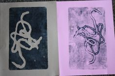 STRING PRINTS: easy printmaking project for kids using bits of string and yarn.