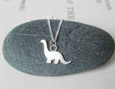brontosaurus dinosaur necklace in sterling silver