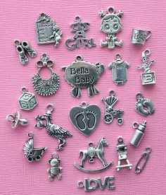 Deluxe Baby Girl Charm Collection Antique Silver Tone 22 Charms - COL285