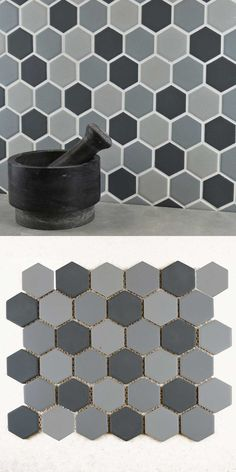 Bring that hexagonal trend into your walls and floors with Bijou Matt Hexagon Grey Mix Mosaic Tiles, which are made from durable porcelain in a mix of grey hues. Hexagon Mosaic Tile, White Mosaic Tiles, White Wall Tiles, Kitchen Splashback Tiles, Kitchen Walls, Wall Tile Adhesive, Gray And White Kitchen, Tiles Price, Underfloor Heating