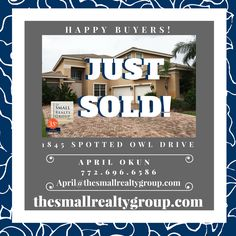 The Small Realty Group LLC is pleased to share that this Falcon Trace property was JUST SOLD by our TSRG agent April Okun! Congratulations to April and her buyers! If you are looking to buy or sell in the Indian River County area call The Small Realty Group LLC 772.217.3553 today!  thesmallrealtygroup.com #JUSTSOLD #VeroBeach #Florida #thesmallrealtygroup #CoastalLiving #beach #FalconTrace #VeroBeachrealestate