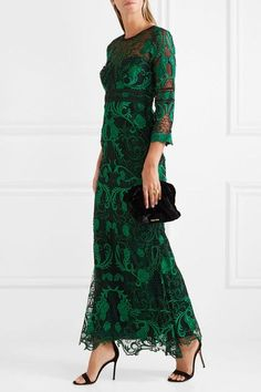 Marchesa Notte - Guipure Lace Gown - Green