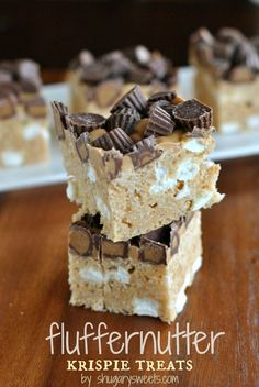 Fluffernutter Krispie Treats: a delicious chocolate peanut butter and marshmallow treat, easy and no bake too!