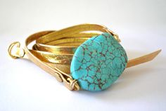 Gold Metallic Leather Wrap Bracelet with Turquoise by oiajules