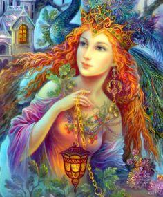 Yule Queen by marvelous artist Nadezhda Strelkina, calls her Faery. Josephine Wall, Fantasy Paintings, Fantasy Art, Goddess Art, Angel Pictures, Fantasy Women, Fairy Art, Fantasy Creatures, Faeries