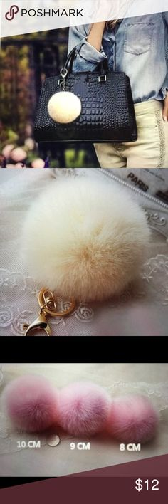 Pom Pom bag backpack phone car accessory 10mm This beige Pom Pom is fun and flirty to accessorize your handbag, backpack, phone, or hang from your rearview mirror! Fab and glam all in this cute cuddly faux fur Pom pom💋 if you are looking for other Pom Pom product please check out my closet as I have a selection to choose from😀 Bags
