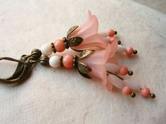 Flower Earrings Peach Lucite Flowers with Jade and by PiggleAndPop