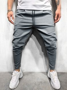 Premium Striped Ankle Pants Great for adding modern style and comfort to your next casual outfit! Check it out today Ankle Pants, Trouser Pants, Grey Pants, Jogger Pants, Streetwear Jeans, Casual Pants, Men Casual, Hip Hop, Moda Masculina