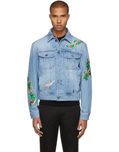 VERSACE Blue Embroidered Denim Jacket · VERGLE