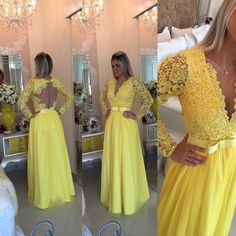 Yellow Prom Dresses,Charming Evening Dress,Yellow Prom Gowns,Lace Prom