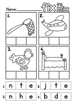 Fix the Mix - cvc Words Cut and Paste Worksheet $