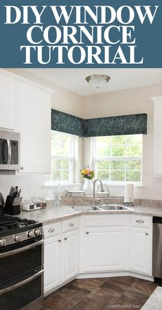 DIY window cornice TUTORIAL.  Also how my kitchen is laid out and would look with white paint and a new counter....