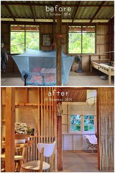 """""""บ้านไร่ ไออรุณ baan rai i arun"""" Architecture Renovation, Home Renovation, Architecture Design, Modern Wooden House, Bamboo House Design, Hut House, Asian House, Jungle House, Asian Home Decor"""