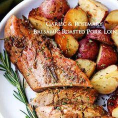 Pork loin is a delicious and healthy lean pork option. Here are 15 fantastic crock pot pork loin recipe ideas. The crock pot makes things so easy! Rosemary Pork Tenderloin, Pork Sirloin Roast, Balsamic Pork Tenderloins, Cooking Pork Tenderloin, Pot Roast, Pork Loun, Boneless Pork Loin Recipes, Pork Recipes, Keto Recipes