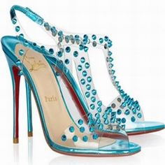 Christian Louboutin J-Lissimo 100 T-Strap Spikes Sandals Turquoi