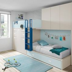 cama tren azul